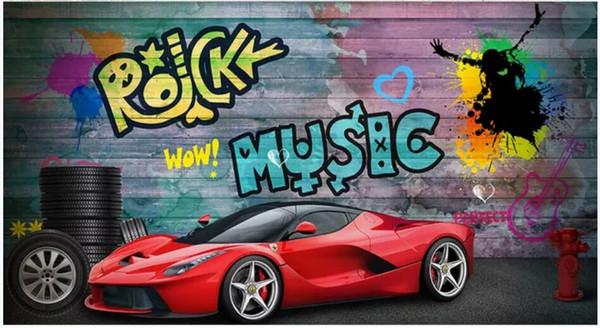 Christmas Graffiti Background.Wdbh 3d Wallpaer Custom Photo Red Sports Car Urban Graffiti