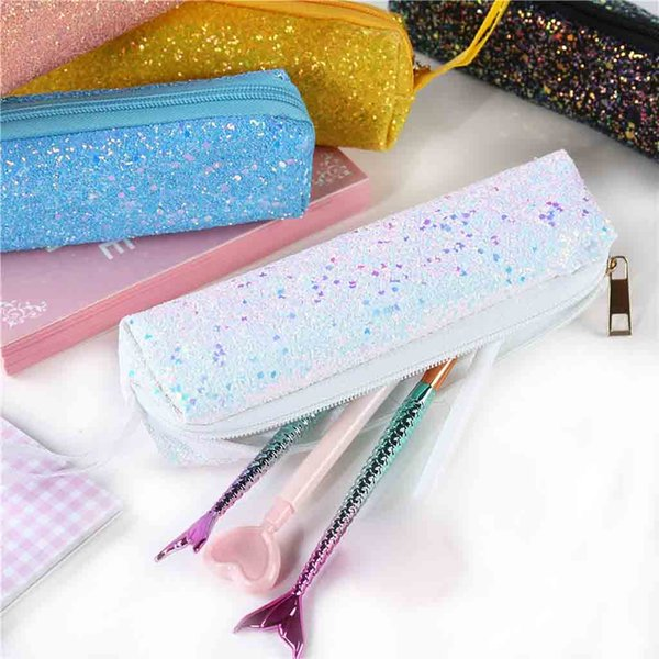 Fashion storage bag unisex student sequins hand bag zipper small stationery storage ladies coin purse Billetera
