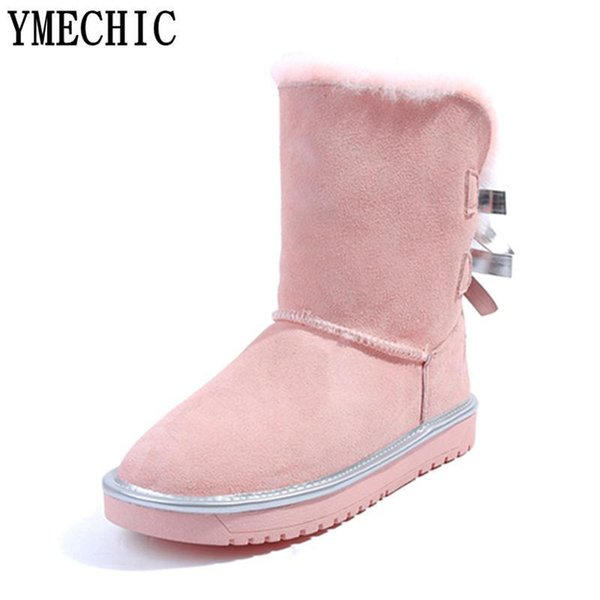 YMECHIC Lady Cow Suede Winter Snow Boots Female Bowtie Lovely Butterfly-knot Black Pink Flat Winter Women Fur Shoes Plus Size