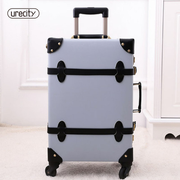 2018 new rolling travel luggage spinner retro pu genuine leather luggage set high quality 3 colors suitcase free shipping