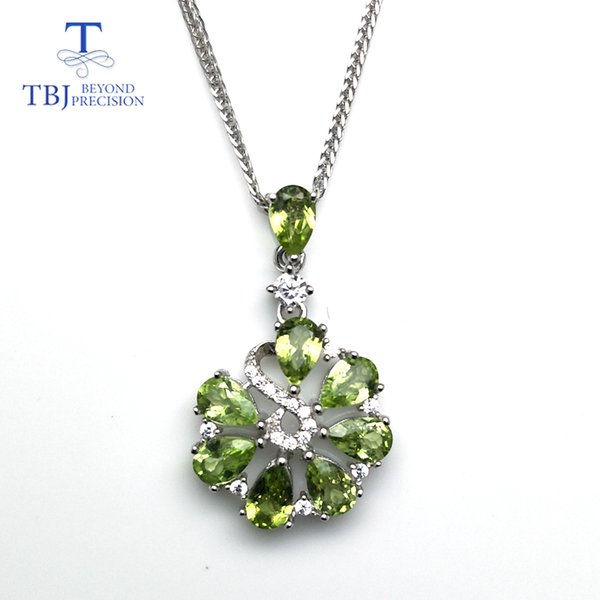 TBJ,Sweet flower pendant with natural green peridot gemstone necklace in 925 sterling silver romantic jewelry gift for women