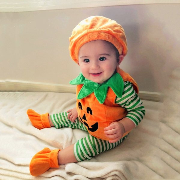 Cute Baby Halloween Costume Toddler Baby Kids Girls Demon Pumpkin Halloween Romper+Cap+Shoes Outfits Set 3PCS Roupas Infantis@40