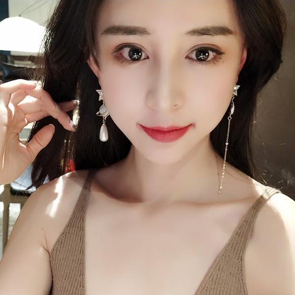 Südkorea Frühling und Sommer 2019 neue Ohrstecker Ohr Linie Persönlichkeit S925 Silber Nadel nicht Sterne Sterne Sterne Ohrringe Ohrringe Frauen