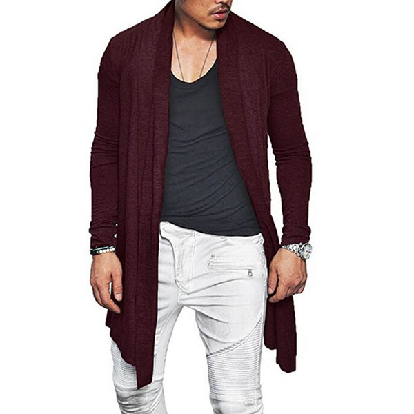 Man Autumn Casual Cardigan Asymmetric Solid Color Wrap Poncho Coat Outwear GDD99