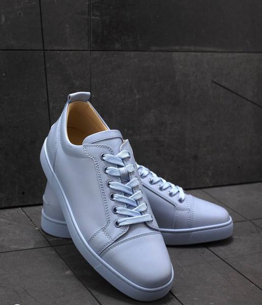 С коробкой дизайнерские кроссовки Lowtop квартиры обувь Красное дно для мужчин и женщин небесно-голубой кожаный кроссовки партии дизайнер Повседневная обувь