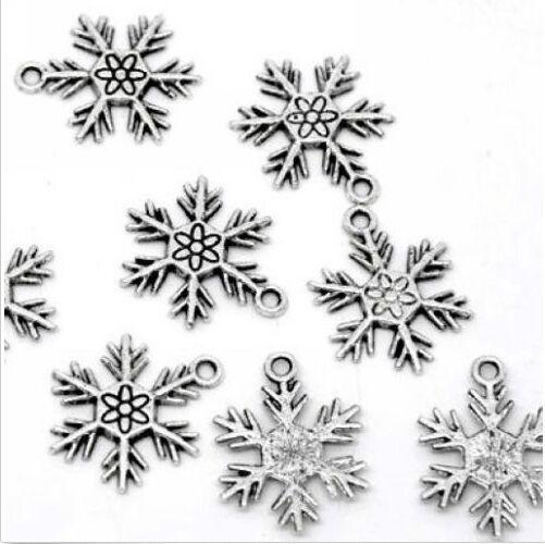 Argent Antique Noël Flocon de neige Breloques Pendentifs 25x19mm 1 jour livraison