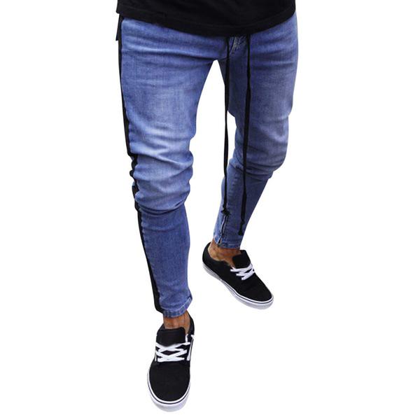 Jeans Men Plus Size Men Casual Men's Fashion Striped Jeans For Solid Denim Pants Folds Wash Work Pencil Trousers homme