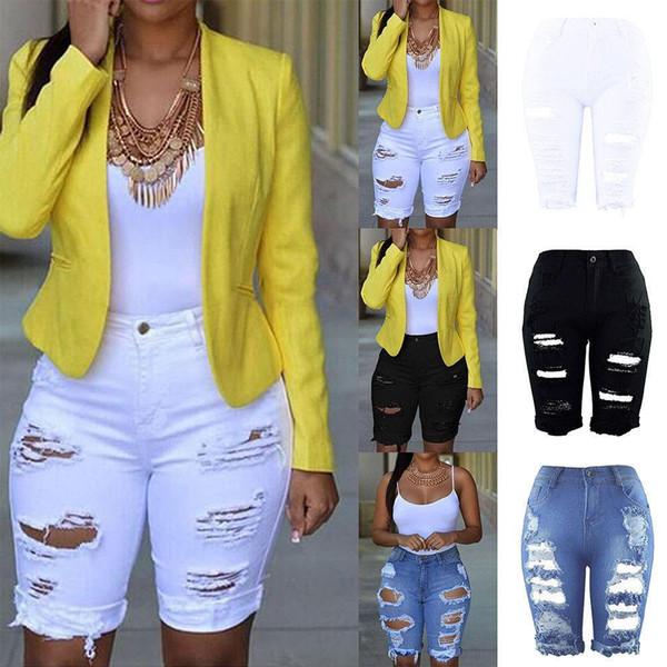 3 Farbe S M L XL 2XL 3XL NEU Damen High Waist Elastic Destroyed Hole Leggings Kurze Hosen Jeansshorts Ripped Jeans Knielang