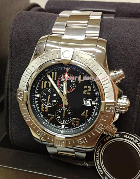 Melhor Edição De Luxo Relógio De Pulso Super Avenger II A13371 Preto Dial Árabe Trabalho 7750 Cronógrafo Automático Mechanisch Mens Relógios