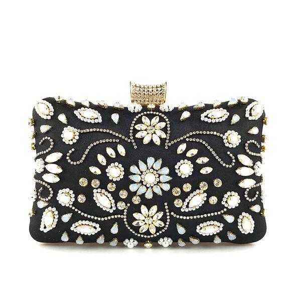 Women Beaded Handbags Fashion Purses Diamond Hand Clutches Classic Bridal Pearl Evening Clutch Gift Box Wedding Exquisite Cross body Bag