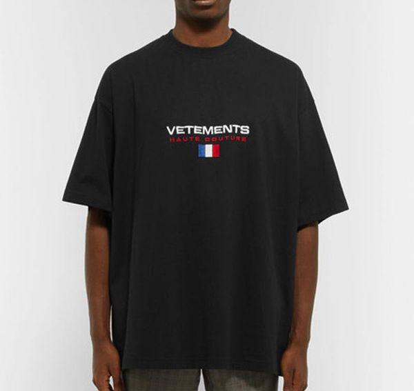 18ss Vetements Declino della Francia Bandiera Tee Hip Hop Skateboard Cool T-shirt Mens T-Shirt Donna Cotone Casual Cartoon T-Shirt