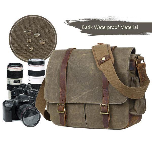with Photo Pouch Canvas DSLR SLR Strap Case Casual Shoulder Vintage Messenger Comfort Camera Bag Men Camera Bag with