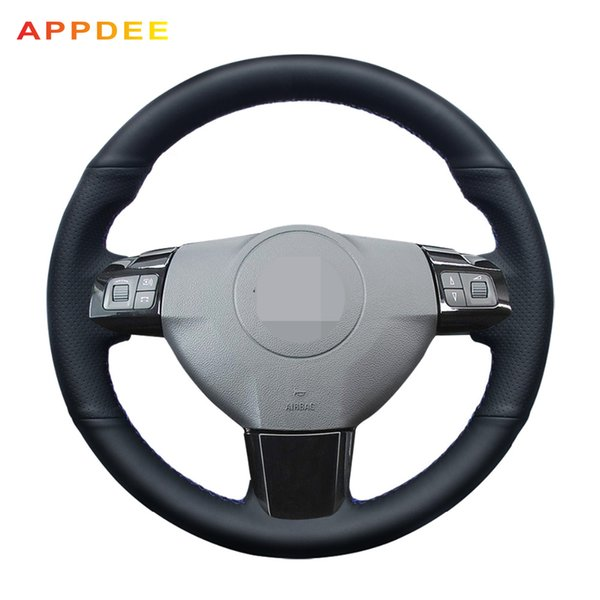 APPDEE Hand-stitched Black PU Artificial Leather Car Steering Wheel Cover for Astra 2005 2006 Vauxhall Astra