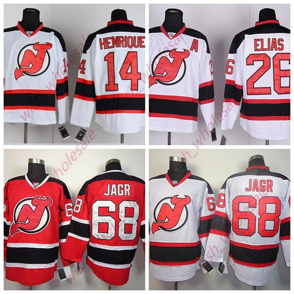 Cheap dell'uomo diavoli del New Jersey maglie 26 Patrik Elias 68 Jaromir Jagr 14 Adam Henrique Jersey cucito l'alta qualità hokey Jersey Bianco Rosso