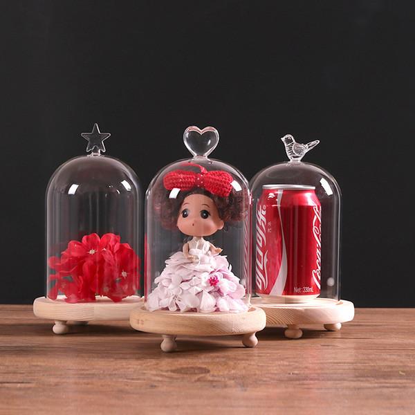 4 X 10 * 15 cm Petit Verre Cloche Cloche En Verre Dôme Fleur Vase Terrarium Bouteille Avec Base En Bois Pour DIY Décor