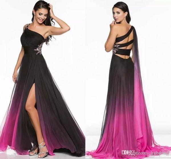 2019 Nueva gradiente Ombre Vestidos de baile Ocasión especial Gasa Hermosa Larga con un hombro Rebordear Sexy Split Runway Vestidos de noche formales