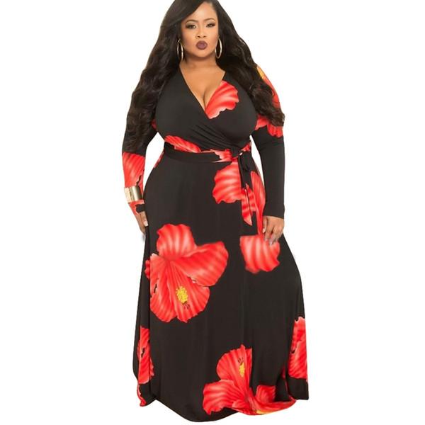 2019 Floral Printed Vintage Bohemian Dresses 2019 Women Deep V Neck Long  Sleeve Plus Size Maxi Dress Spring Sashes Floor Length Dress From ...
