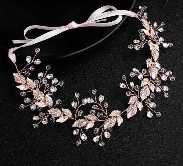 Prinzessin Stirnband Hochzeit Braut Crystal Leaf Haarschmuck Schmuck Strass Kopfschmuck Pearl Crown Tiara Königin Kopfschmuck Gold Silber