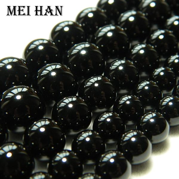Freeshipping Meihan 4 millimetri 6 millimetri 8 millimetri 10mm 12mm naturale agata nera liscia Perline sparse rotonde per monili che fanno progettazione o fai da te