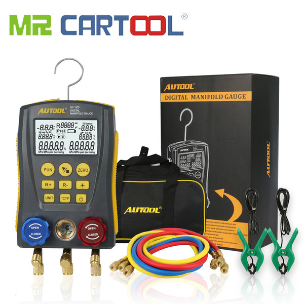 Mr Cartool HVAC Digital Refrigeration Manometer Gauge Meter Vacuum Pressure Temperature Tester Kit Test Clip and Pipe