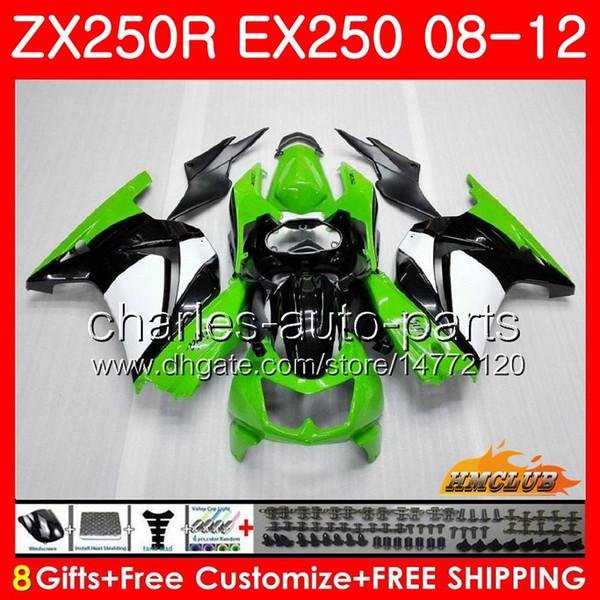 Bodys Para KAWASAKI NINJA ZX250R EX-250 2008 2009 2010 2011 2012 13HC.12 EX250 ZX250R ZX-250R ZX 250R 08 09 10 11 12 Carenagem luz verde