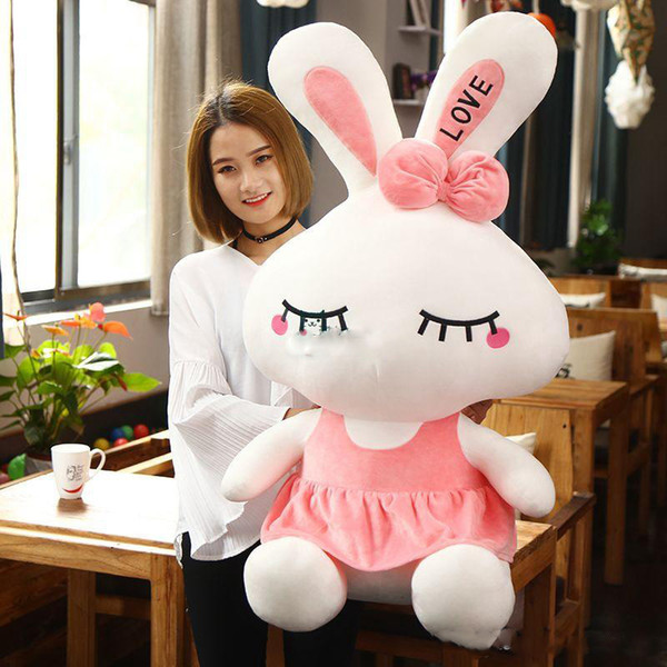 Pop Lovely 100cm Big Soft Cartoon Pink Bunny Plush Doll 39'' Giant Stuffed Rabbit Toy Pillow Girl Present