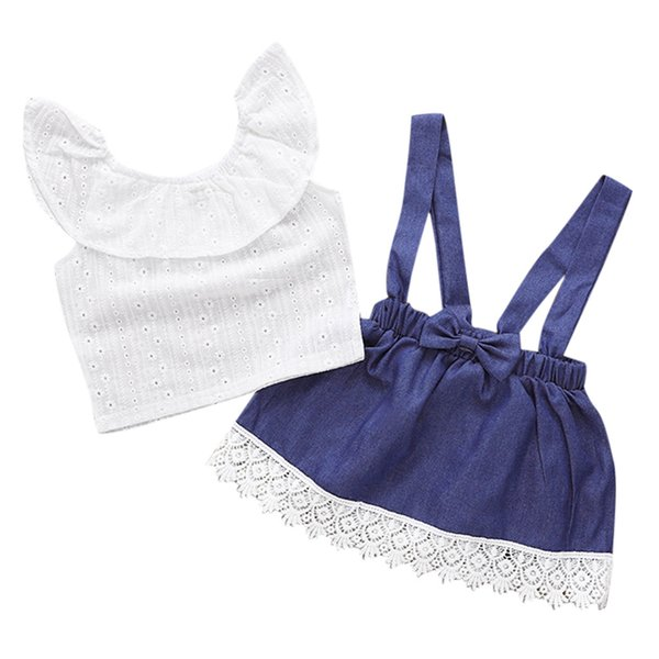Kid Baby Girl Ruffled Gola T Shirt Suspender Lace Saia Jeans 2 PC Conjuntos Outfits
