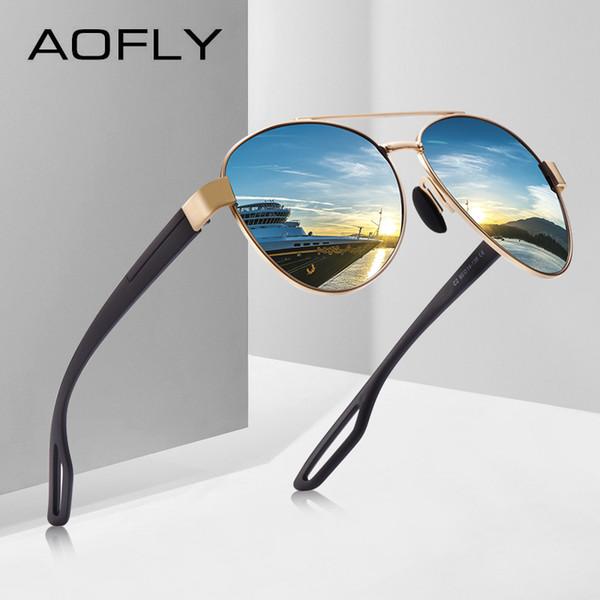 a657dac28c AOFLY Hombres Vintage Metal gafas de sol polarizadas Classic Brand Pilot  Gafas de sol Hombre TAC