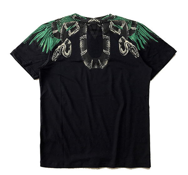 NOUVEAU Marcelo Burlon Marque T-Shirt Hommes Femmes Milan Ailes de Plume Couple Défilé de Mode RODEO MAGAZINE Coton T Shirts Noir Pas Cher