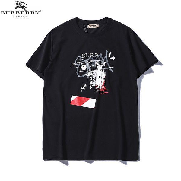 2019 novos modelos de homens e mulheres de verão de duas cores em torno do pescoço de algodão letras manuscritas respingo tinta impressão casal de mangas curtas t-shirt