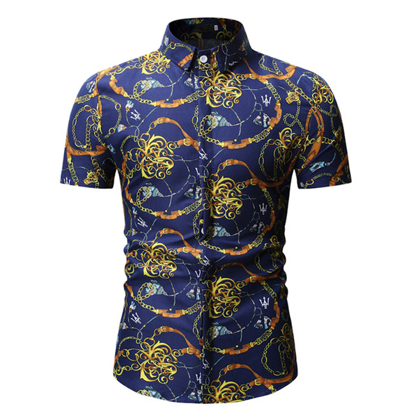 Novelty Chain Print Shirt Punk Style Club Boy Party Clothing 2019 Summer New Male Shirts Short Sleeve Tops Polyster High Quality