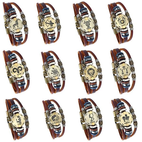 12 Horoscope Signe En Cuir Bracelet Vintage Rétro Zodiac Charme Bracelet Wrap Bracelet Pour Hommes Femmes Bijoux De Mode en Vrac