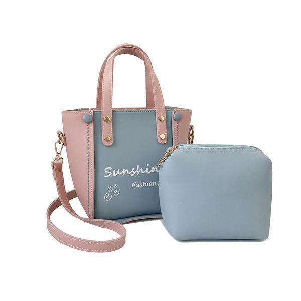 good quality Casual Pu Leather Women's Handbag For Female Small Patchwork Color Hand Bag Crossbody Messenger Shoulder Bags Sets