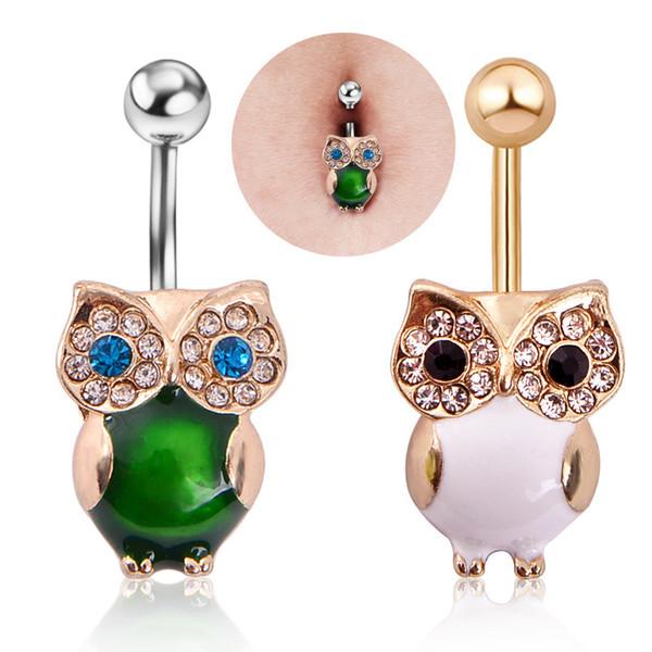 1pc animal mignon Piercing Nombril Vert en acier inoxydable 316L cristal hibou Nombril Anneau Piercing Accessoires Bijoux de corps