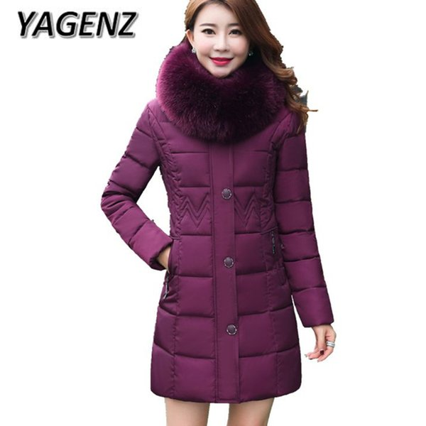 2018 Middle-aged Winter Warm Hooded Coats Women Thick Down Jackets Big Fur collar Slim Medium Long Outerwear Boutiques Clothing
