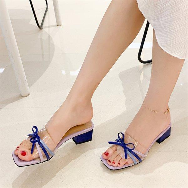 Dropship PVC Lazer Senhoras Chunky Saltos Bowtie Mulheres Sapatos Mulher Casual Fora Chinelos de Verão 2019