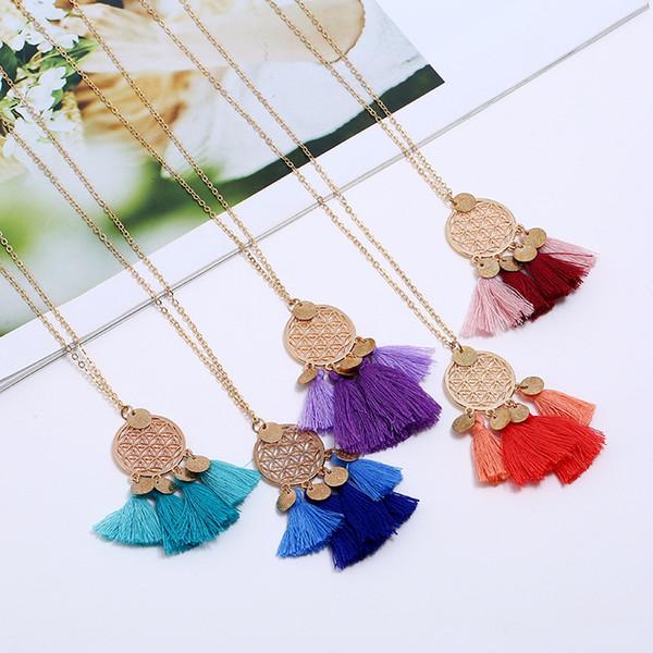 nouveau design mode européenne et américaine longs pendentifs défilé gradient pampille collier coloré pompon collier pour cadeau