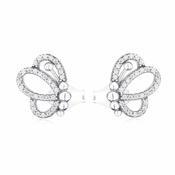La nuova accumulazione 2019 della primavera 925 orecchini d'argento della farfalla di scintilla dell'argento misura gli orecchini europei di modo dei monili di stile di Pandora