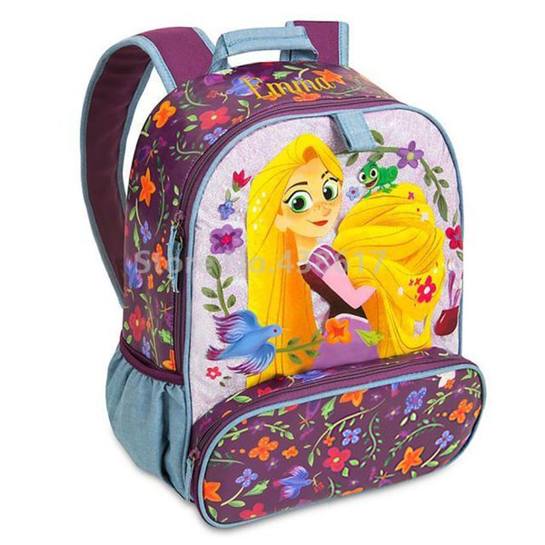 New Fashion Purple Tangled Rapunzel Princess Flower Backpack School Bags for Kids Girls Children Primary School Book Bag
