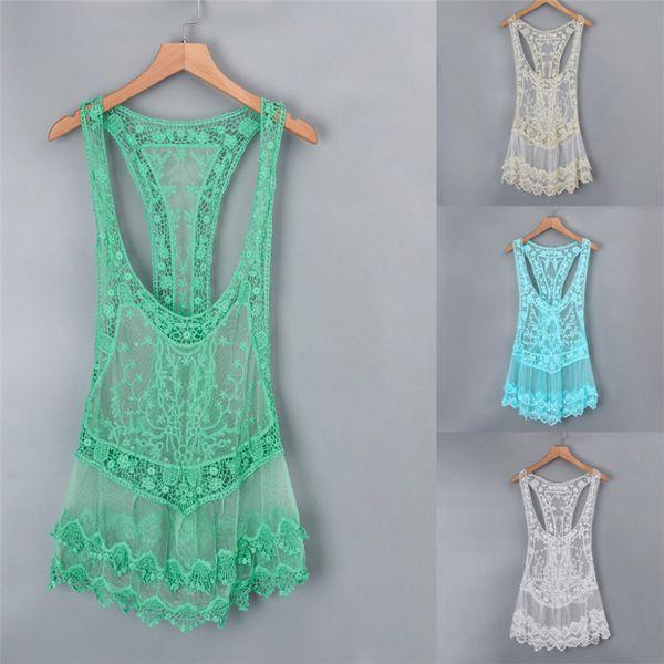 Women Swimwear Covers Summer Hollow-Out Lace Bikini Cover Up Beach Sunscreen Overall Mini Dress Vestido Swimsuits Biquini Tops