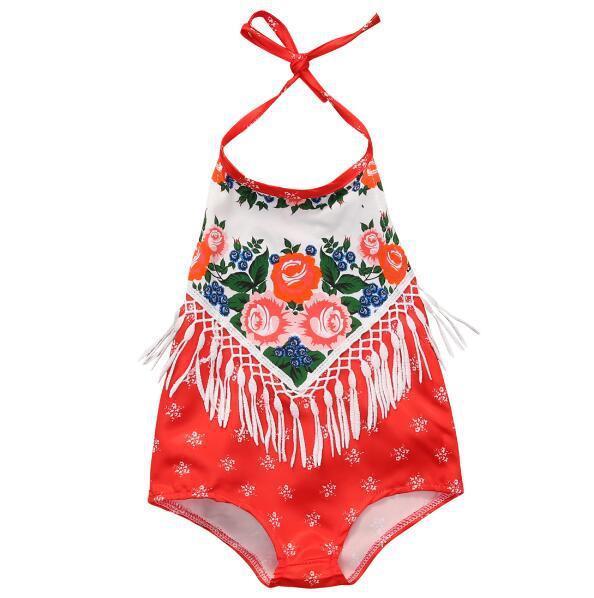 Newborn Infant Romper Baby Girl Red Tassel Floral Romper Summer Backless Princess Toddler Kids Jumpsuit Outfit Sunsuit Cute Kids Clothes B11