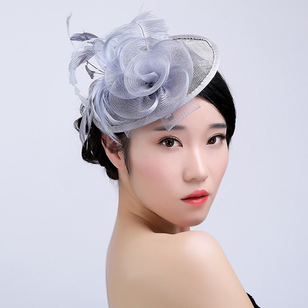 Lady Women Fascinator Bow Hair Clip owknot Hat For Women Lace Feather Mini Hat Wedding Party Accessory sombrero mujer feather