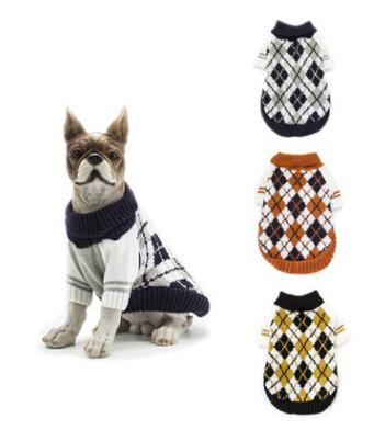 Dog Plaid Turtleneck Knitting Sweater Pet Coat Winter Warm Dog Apparel Small Dog Clothes Fashion Puppy Teddy Costumes