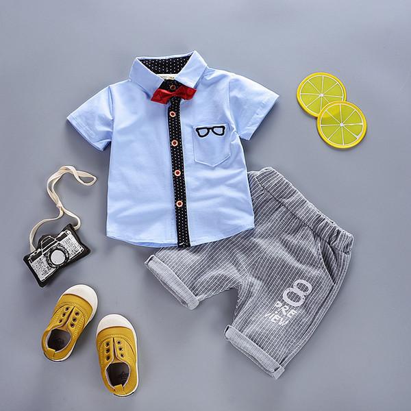 good quality 2019 new boys clothing sets summer t-shirt + short pants boys wedding clothes kids gentleman leisure handsome suit