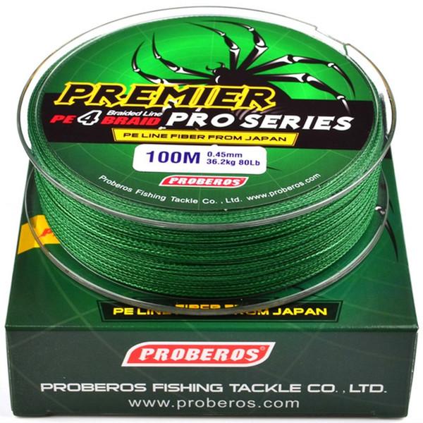 100meters / 1box líneas de pesca verdes 4 Tejidos línea trenzada Disponible 6LB-100LB PE Línea de Pesca Caza y Pesca Accesorios M-002
