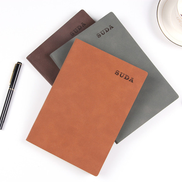 Business vintage suede, soft leather diary, office supplies notebook, stationery book, can be customized corporate logo