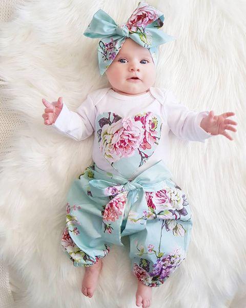 Bebê recém-nascido Kid Menina roupas conjunto Floral manga comprida Macacão 3 pcs impressão Calças + headwear Outfit Set roupas