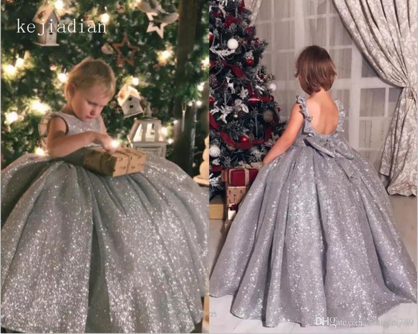 Little Girl Vestido Formal Flower Girls 'Vestidos Jewel Neck lantejoulas Top saia de tule Princesa Crianças vestido com 3d floral apliques