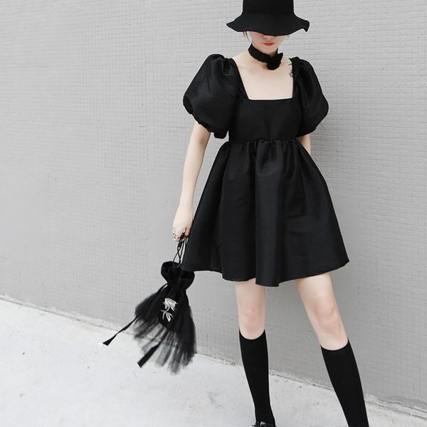 New 2019 Korean Style Women Summer Black Mini Dress Lantern Sleeve A-Line Square Collar Hollow Black Lady Cute Casual Dress F1038