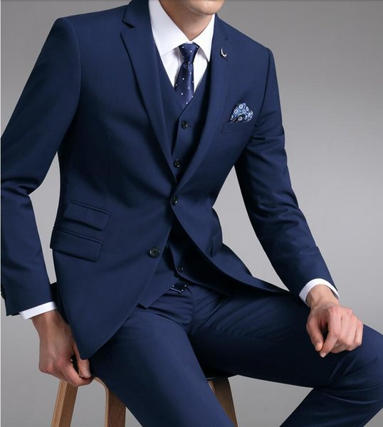 Blue Wedding Tuxedos Groom Suit Wedding Suits For Men 2019 Wedding Groom Suit For Men (Jacket +Pants+Vest ) Business plus size J12
